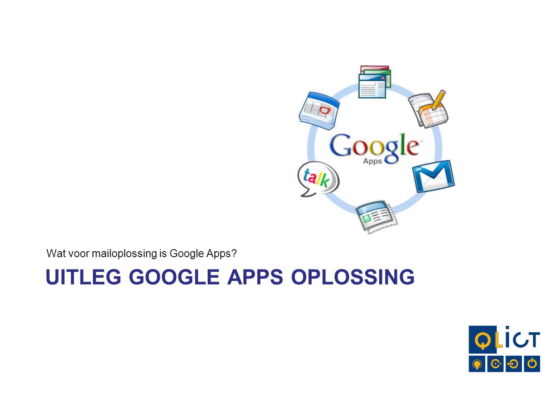 UITLEG GOOGLE APPS OPLOSSING Wat voor mailoplossing is Google Apps?