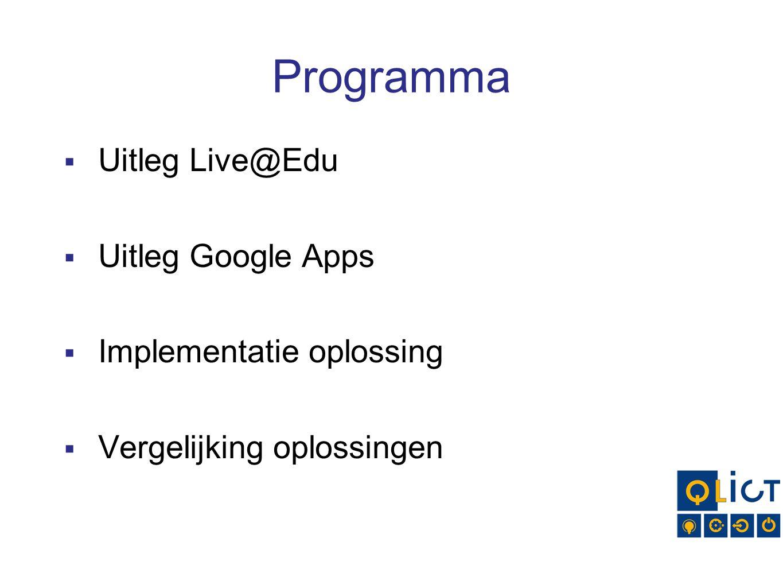 Programma  Uitleg Live@Edu  Uitleg Google Apps  Implementatie oplossing  Vergelijking oplossingen