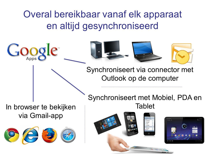 Overal bereikbaar vanaf elk apparaat en altijd gesynchroniseerd Synchroniseert via connector met Outlook op de computer Synchroniseert met Mobiel, PDA en Tablet In browser te bekijken via Gmail-app