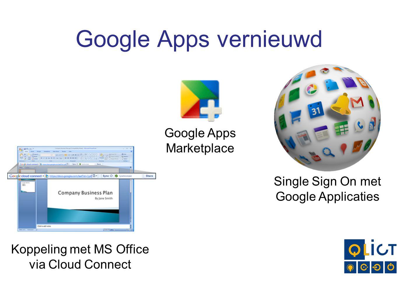 Google Apps vernieuwd Single Sign On met Google Applicaties Koppeling met MS Office via Cloud Connect Google Apps Marketplace