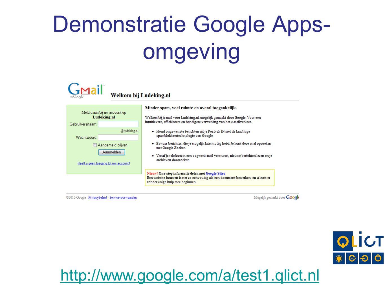Demonstratie Google Apps- omgeving http://www.google.com/a/test1.qlict.nl
