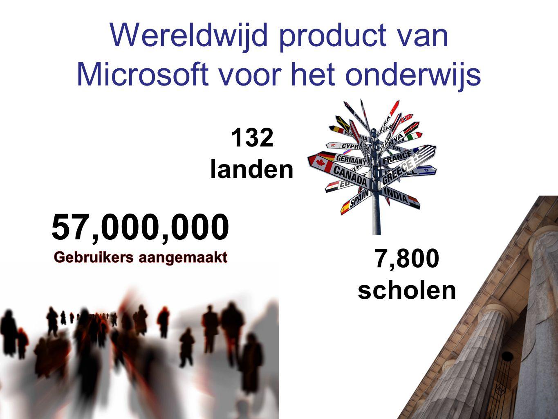 Wereldwijd product van Microsoft voor het onderwijs 7,800 scholen 132 landen