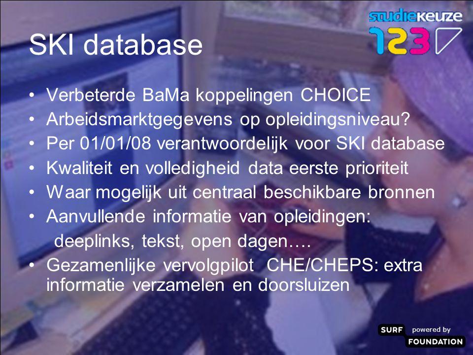 powered by SKI database Verbeterde BaMa koppelingen CHOICE Arbeidsmarktgegevens op opleidingsniveau.