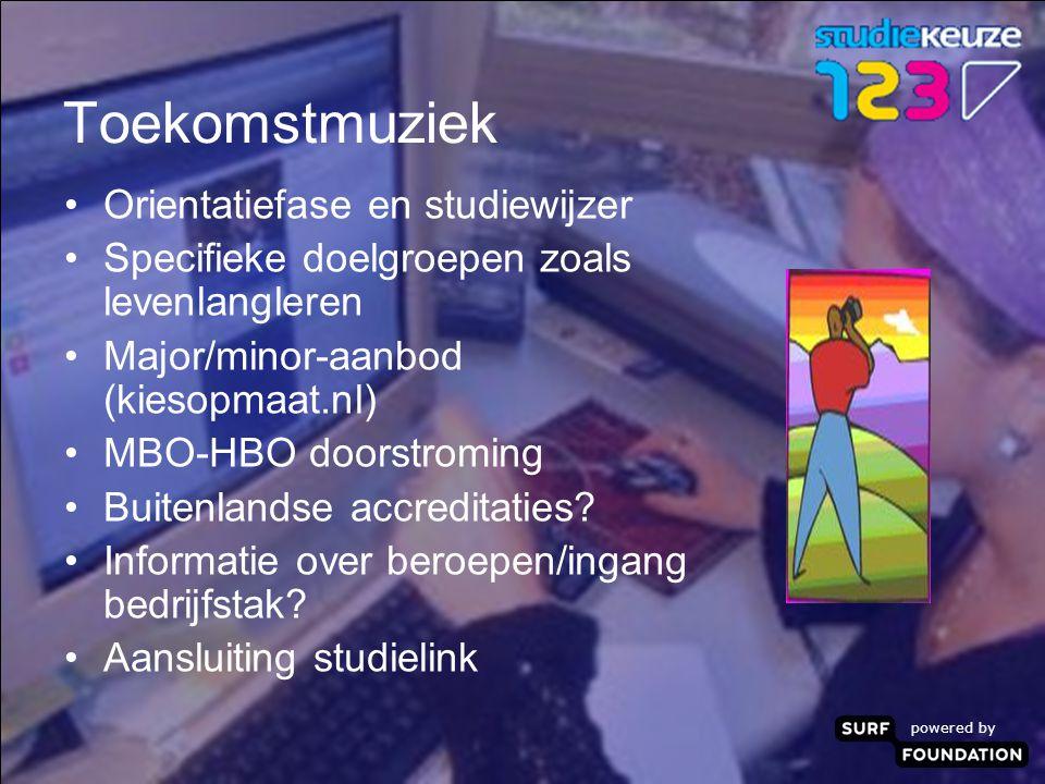 powered by Toekomstmuziek Orientatiefase en studiewijzer Specifieke doelgroepen zoals levenlangleren Major/minor-aanbod (kiesopmaat.nl) MBO-HBO doorstroming Buitenlandse accreditaties.