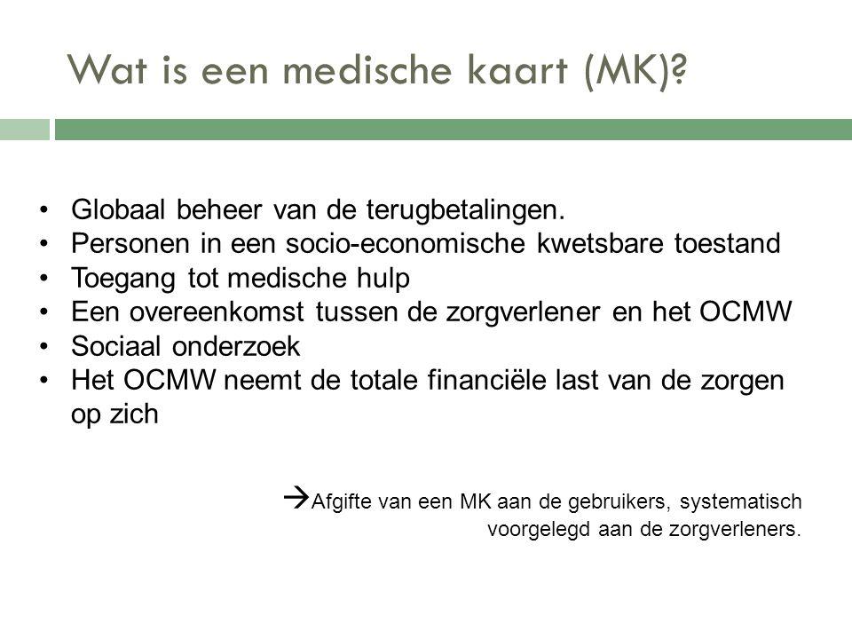 Wat is een medische kaart (MK)?  Afgifte van een MK aan de gebruikers, systematisch voorgelegd aan de zorgverleners. Globaal beheer van de terugbetal