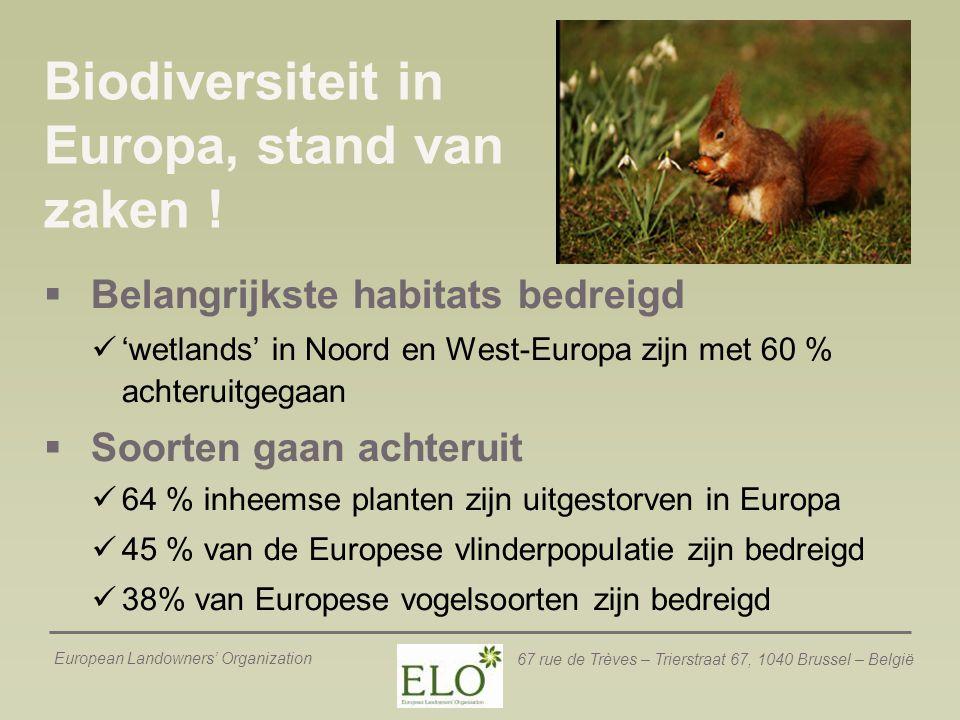 European Landowners' Organization 67 rue de Trèves – Trierstraat 67, 1040 Brussel – België Biodiversiteit in Europa, stand van zaken !  Belangrijkste