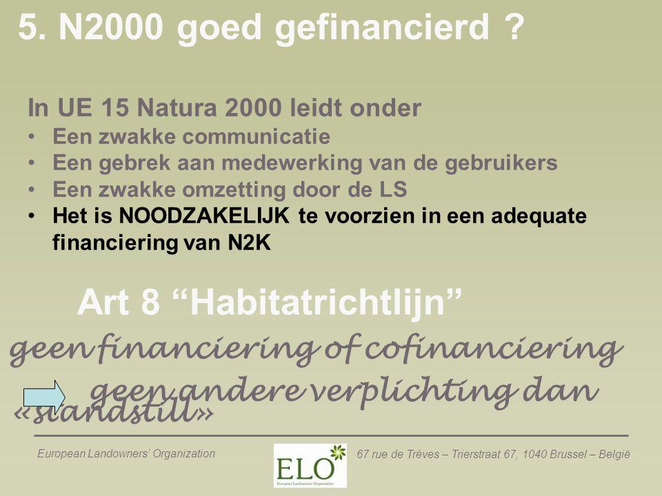 """European Landowners' Organization 67 rue de Trèves – Trierstraat 67, 1040 Brussel – België Art 8 """"Habitatrichtlijn"""" geen financiering of cofinancierin"""