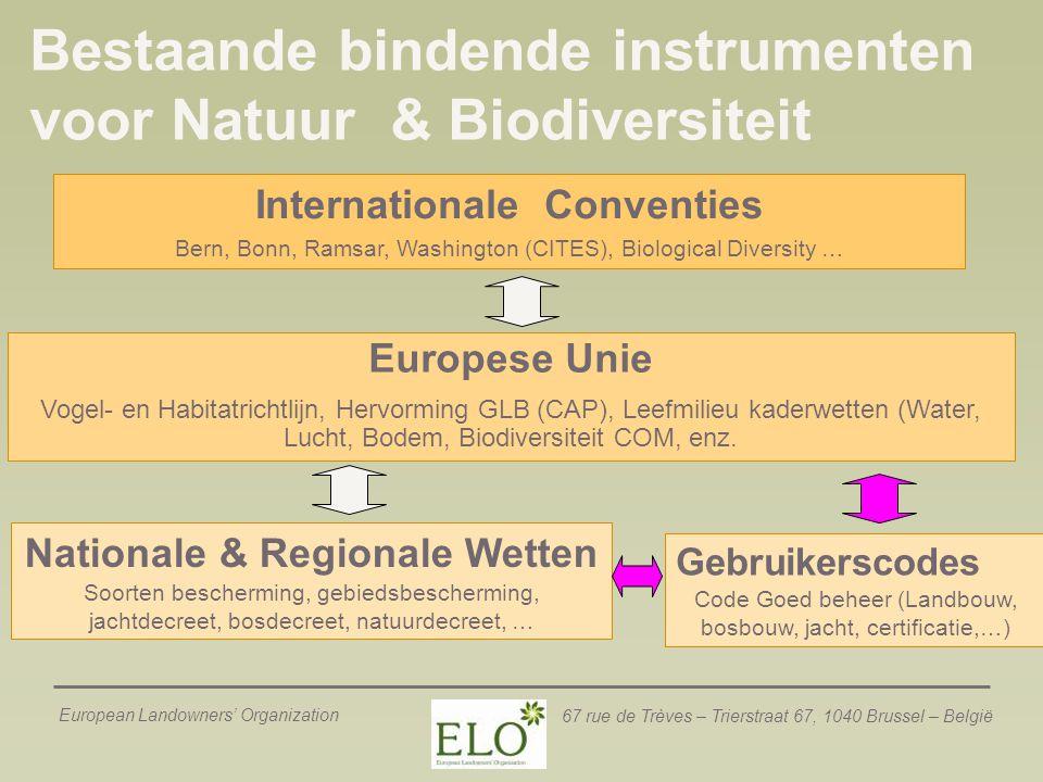 European Landowners' Organization 67 rue de Trèves – Trierstraat 67, 1040 Brussel – België Bestaande bindende instrumenten voor Natuur & Biodiversitei