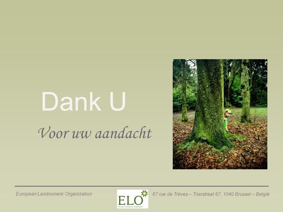 European Landowners' Organization 67 rue de Trèves – Trierstraat 67, 1040 Brussel – België Dank U Voor uw aandacht