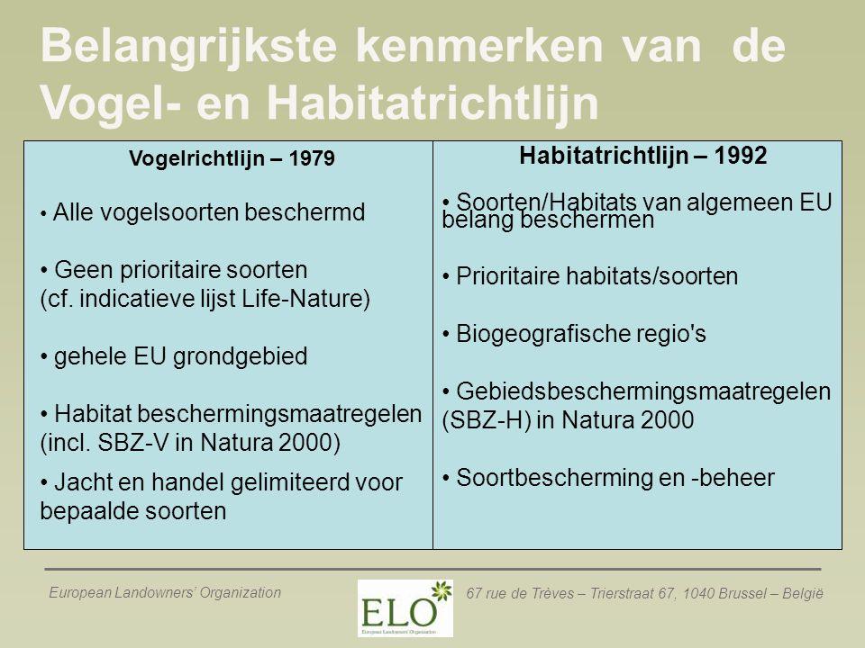 European Landowners' Organization 67 rue de Trèves – Trierstraat 67, 1040 Brussel – België Selectie van N2K gebied (Fase 1)  Speciale beschermingszones onder de Vogelrichtlijn = Wetenschappelijke criteria (Ornithologisch)  Lidstaat duidt het 'meeste geschikte gebied' aan  SBZ-H = Directives' criteria 1.Lidstaat stelt een nationale lijst met gebieden voor 2.Commissie & Lidstaat  lijst 'gebieden van communitair belang' 3.Lidstaat duidt de uiteindelijke SBZ-H aan Wetenschappelijk benadering: