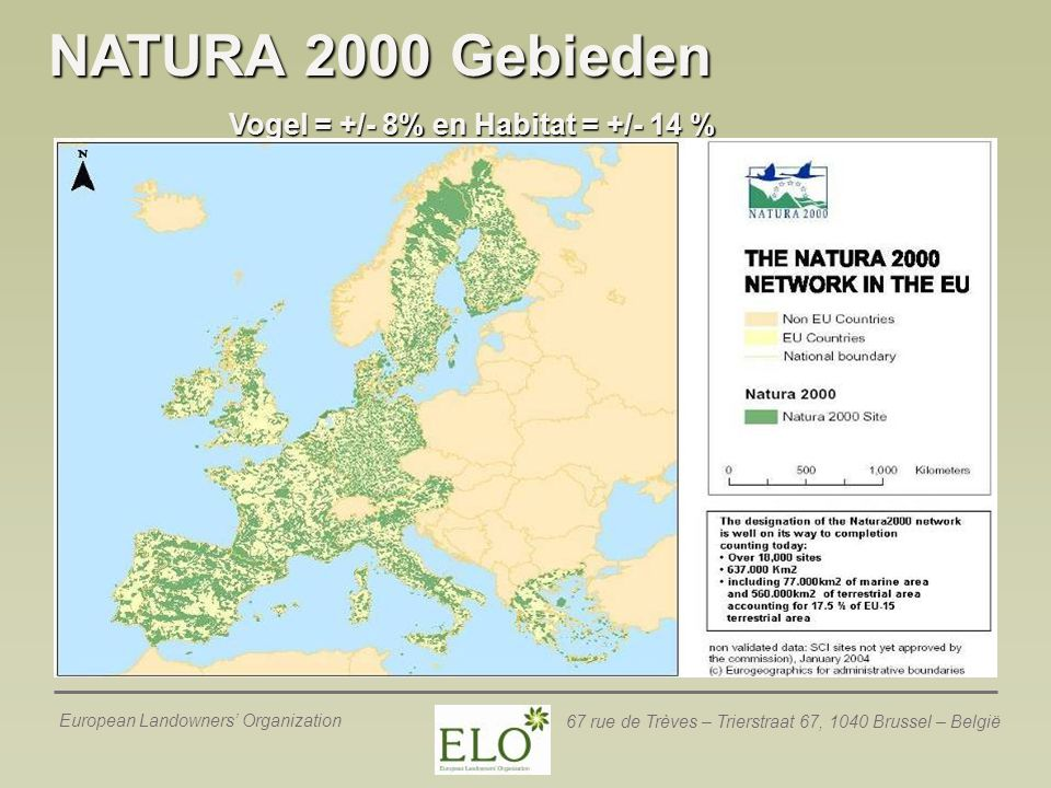 European Landowners' Organization 67 rue de Trèves – Trierstraat 67, 1040 Brussel – België NATURA 2000 Gebieden Vogel = +/- 8% en Habitat = +/- 14 %