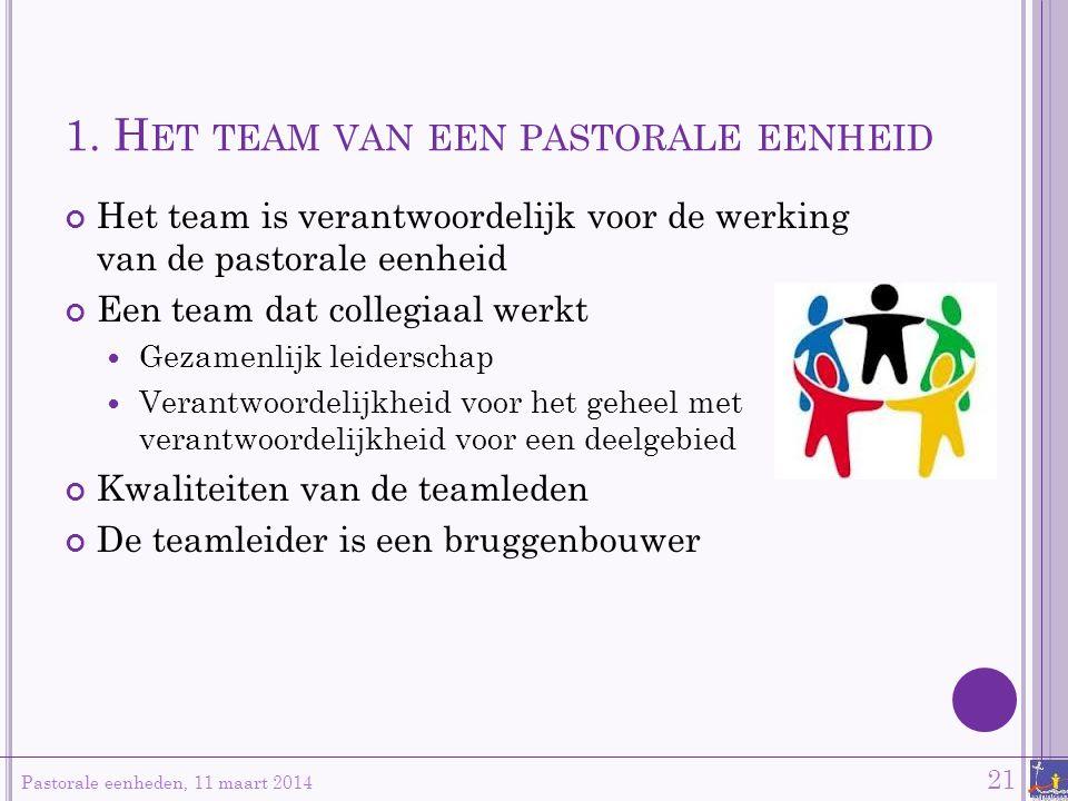 1. H ET TEAM VAN EEN PASTORALE EENHEID Het team is verantwoordelijk voor de werking van de pastorale eenheid Een team dat collegiaal werkt Gezamenlijk