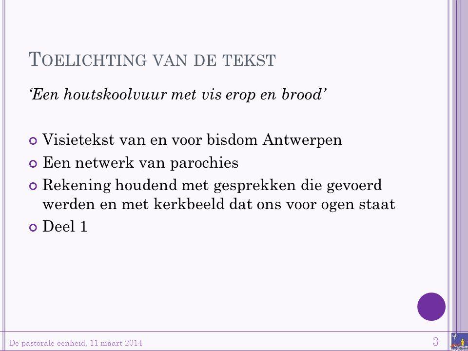 T OELICHTING VAN DE TEKST De pastorale eenheid, 11 maart 2014 3 'Een houtskoolvuur met vis erop en brood' Visietekst van en voor bisdom Antwerpen Een