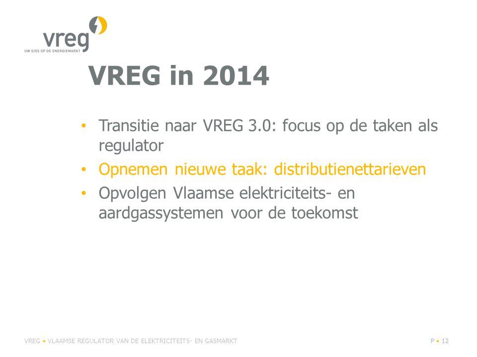 VREG in 2014 Transitie naar VREG 3.0: focus op de taken als regulator Opnemen nieuwe taak: distributienettarieven Opvolgen Vlaamse elektriciteits- en aardgassystemen voor de toekomst VREG VLAAMSE REGULATOR VAN DE ELEKTRICITEITS- EN GASMARKTP 12