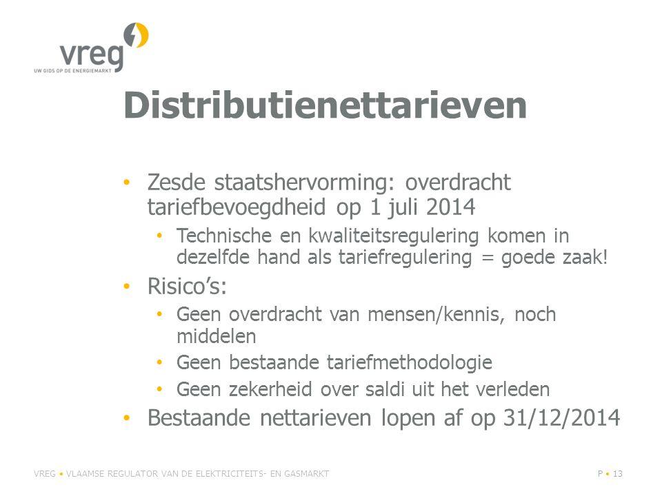 Distributienettarieven Zesde staatshervorming: overdracht tariefbevoegdheid op 1 juli 2014 Technische en kwaliteitsregulering komen in dezelfde hand als tariefregulering = goede zaak.