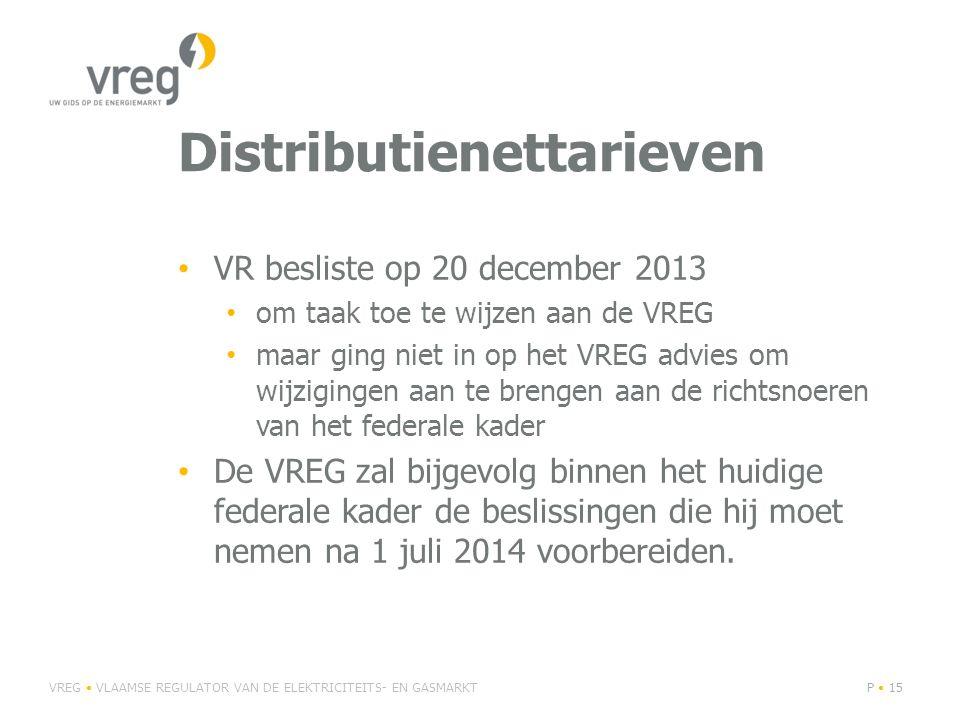 Distributienettarieven VR besliste op 20 december 2013 om taak toe te wijzen aan de VREG maar ging niet in op het VREG advies om wijzigingen aan te brengen aan de richtsnoeren van het federale kader De VREG zal bijgevolg binnen het huidige federale kader de beslissingen die hij moet nemen na 1 juli 2014 voorbereiden.