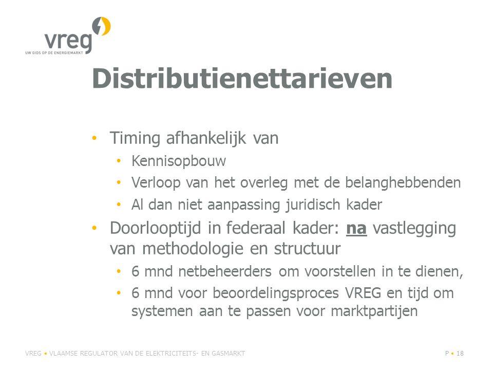 Distributienettarieven Timing afhankelijk van Kennisopbouw Verloop van het overleg met de belanghebbenden Al dan niet aanpassing juridisch kader Doorlooptijd in federaal kader: na vastlegging van methodologie en structuur 6 mnd netbeheerders om voorstellen in te dienen, 6 mnd voor beoordelingsproces VREG en tijd om systemen aan te passen voor marktpartijen VREG VLAAMSE REGULATOR VAN DE ELEKTRICITEITS- EN GASMARKTP 18