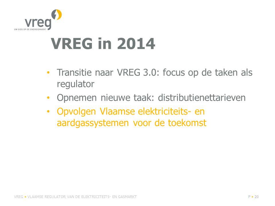VREG in 2014 Transitie naar VREG 3.0: focus op de taken als regulator Opnemen nieuwe taak: distributienettarieven Opvolgen Vlaamse elektriciteits- en aardgassystemen voor de toekomst VREG VLAAMSE REGULATOR VAN DE ELEKTRICITEITS- EN GASMARKTP 20