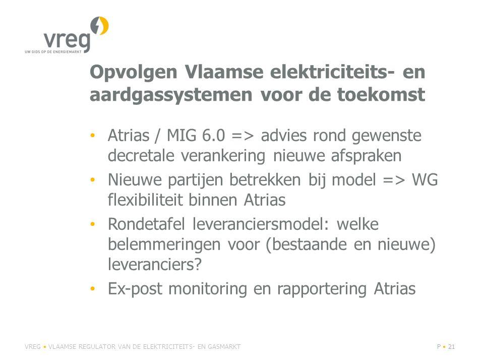 Opvolgen Vlaamse elektriciteits- en aardgassystemen voor de toekomst Atrias / MIG 6.0 => advies rond gewenste decretale verankering nieuwe afspraken Nieuwe partijen betrekken bij model => WG flexibiliteit binnen Atrias Rondetafel leveranciersmodel: welke belemmeringen voor (bestaande en nieuwe) leveranciers.