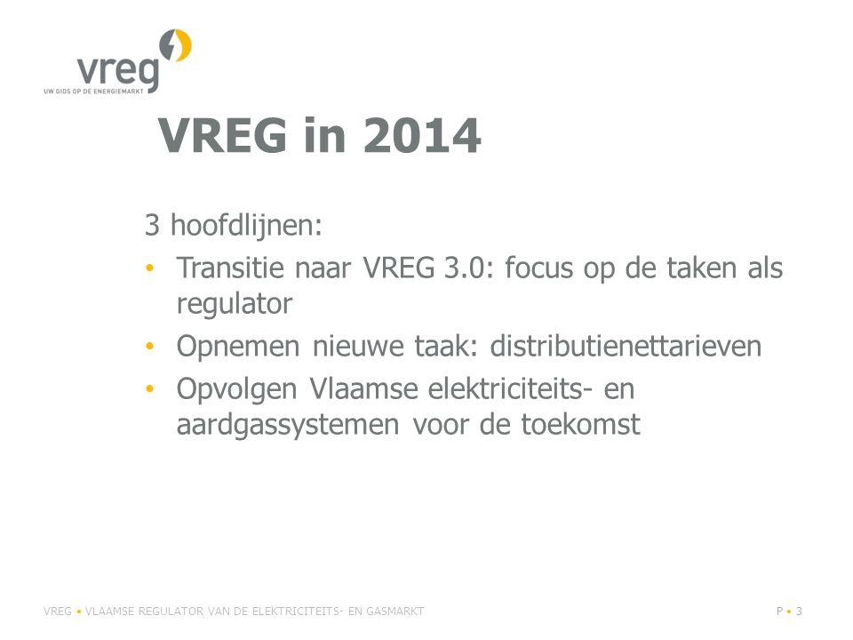 VREG in 2014 3 hoofdlijnen: Transitie naar VREG 3.0: focus op de taken als regulator Opnemen nieuwe taak: distributienettarieven Opvolgen Vlaamse elektriciteits- en aardgassystemen voor de toekomst VREG VLAAMSE REGULATOR VAN DE ELEKTRICITEITS- EN GASMARKTP 3