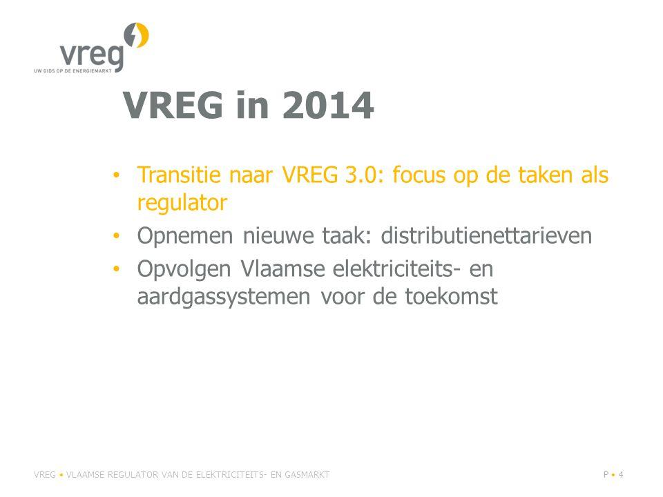 VREG in 2014 Transitie naar VREG 3.0: focus op de taken als regulator Opnemen nieuwe taak: distributienettarieven Opvolgen Vlaamse elektriciteits- en aardgassystemen voor de toekomst VREG VLAAMSE REGULATOR VAN DE ELEKTRICITEITS- EN GASMARKTP 4