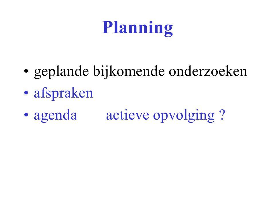 Planning geplande bijkomende onderzoeken afspraken agendaactieve opvolging
