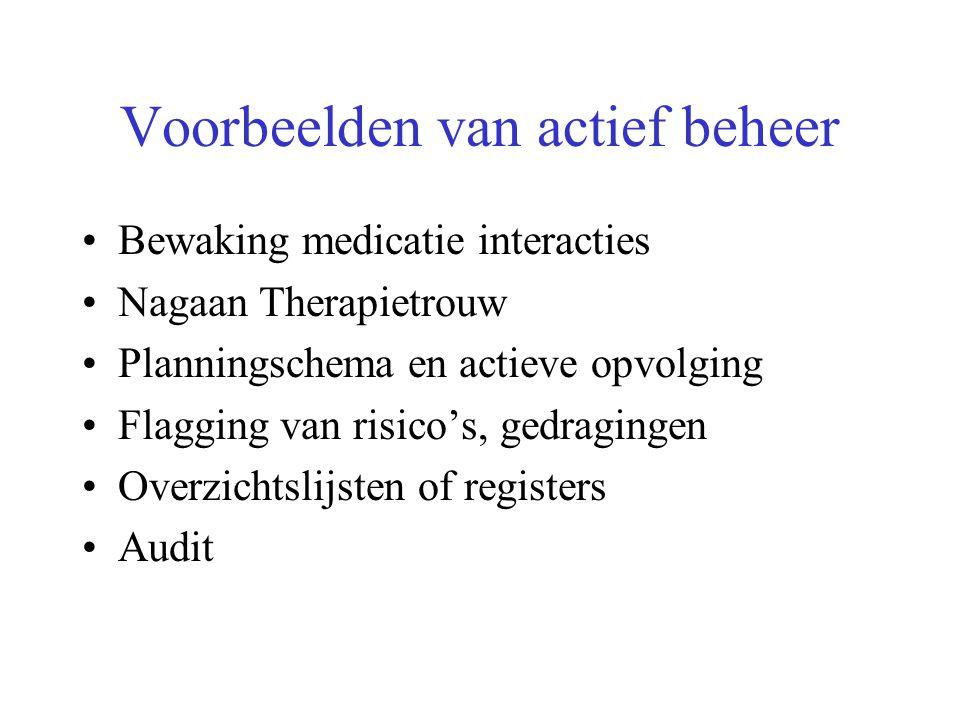 Bewaking medicatie interacties Nagaan Therapietrouw Planningschema en actieve opvolging Flagging van risico's, gedragingen Overzichtslijsten of registers Audit Voorbeelden van actief beheer