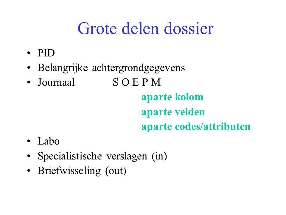 Grote delen dossier PID Belangrijke achtergrondgegevens JournaalS O E P M aparte kolom aparte velden aparte codes/attributen Labo Specialistische verslagen (in) Briefwisseling (out)
