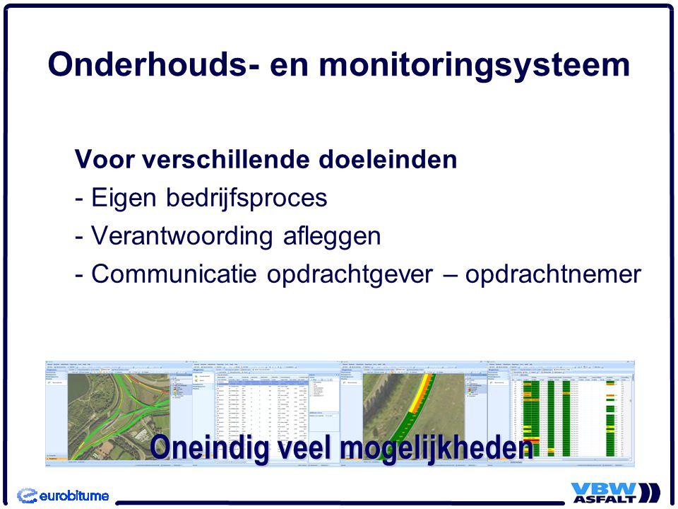 Onderhouds- en monitoringsysteem Functies: - Beheren van gegevens - Analyseren van gegevens - Presenteren en rapporteren van gegevens - Uitwisselen van gegevens Voorwaarde is eenvoud in input en output