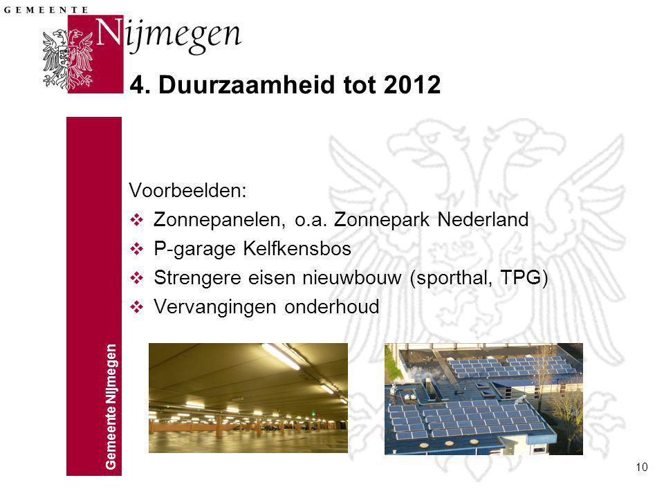 Gemeente Nijmegen 10 4. Duurzaamheid tot 2012 Voorbeelden: v Zonnepanelen, o.a. Zonnepark Nederland v P-garage Kelfkensbos v Strengere eisen nieuwbouw