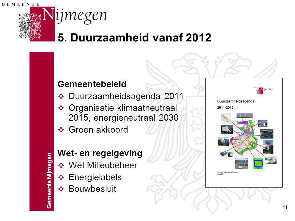 Gemeente Nijmegen 11 5. Duurzaamheid vanaf 2012 Gemeentebeleid v Duurzaamheidsagenda 2011 v Organisatie klimaatneutraal 2015, energieneutraal 2030 v G