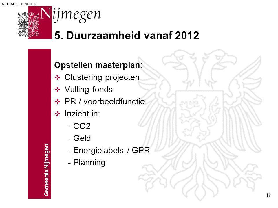 Gemeente Nijmegen 19 5. Duurzaamheid vanaf 2012 Opstellen masterplan: v Clustering projecten v Vulling fonds v PR / voorbeeldfunctie v Inzicht in: - C