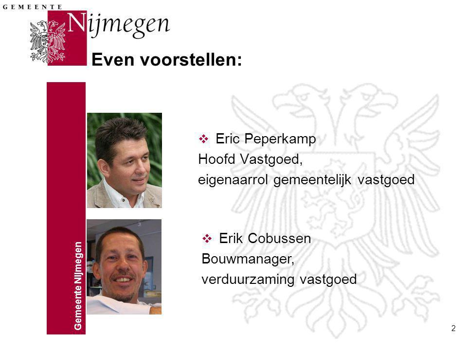 Gemeente Nijmegen 2 v Eric Peperkamp Hoofd Vastgoed, eigenaarrol gemeentelijk vastgoed Even voorstellen: v Erik Cobussen Bouwmanager, verduurzaming vastgoed