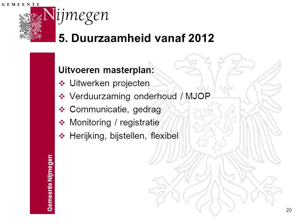 Gemeente Nijmegen 20 5. Duurzaamheid vanaf 2012 Uitvoeren masterplan: v Uitwerken projecten v Verduurzaming onderhoud / MJOP v Communicatie, gedrag v