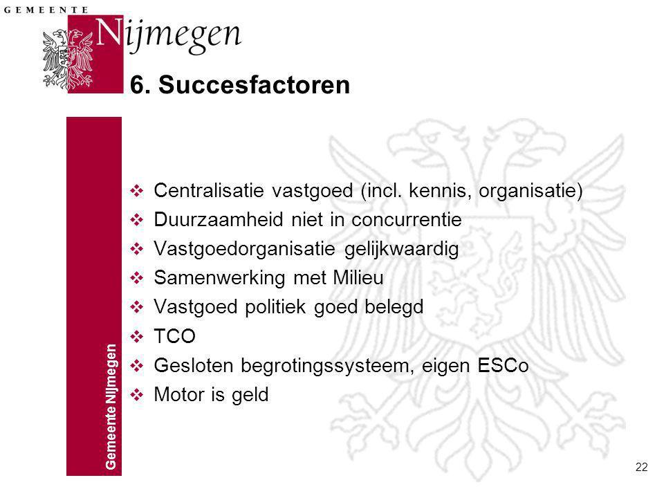 Gemeente Nijmegen 22 6. Succesfactoren v Centralisatie vastgoed (incl. kennis, organisatie) v Duurzaamheid niet in concurrentie v Vastgoedorganisatie