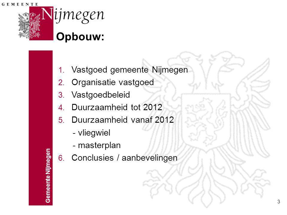 Gemeente Nijmegen 3 1. Vastgoed gemeente Nijmegen 2. Organisatie vastgoed 3. Vastgoedbeleid 4. Duurzaamheid tot 2012 5. Duurzaamheid vanaf 2012 - vlie