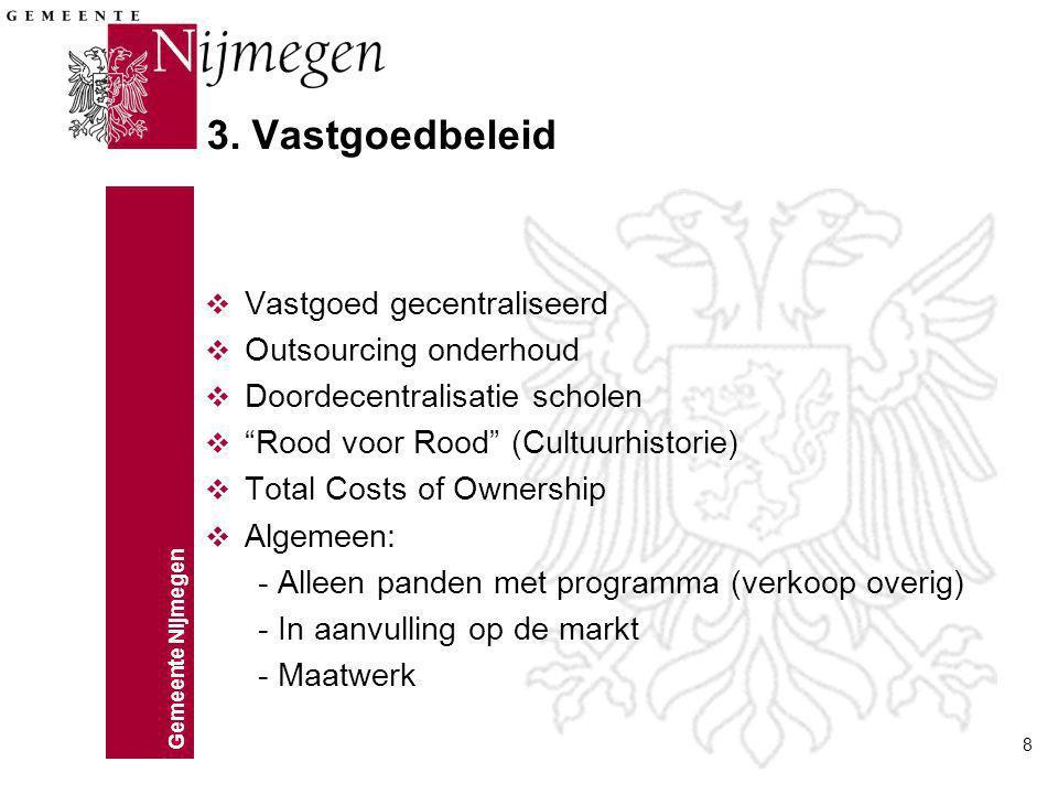 """Gemeente Nijmegen 8 3. Vastgoedbeleid v Vastgoed gecentraliseerd v Outsourcing onderhoud v Doordecentralisatie scholen v """"Rood voor Rood"""" (Cultuurhist"""