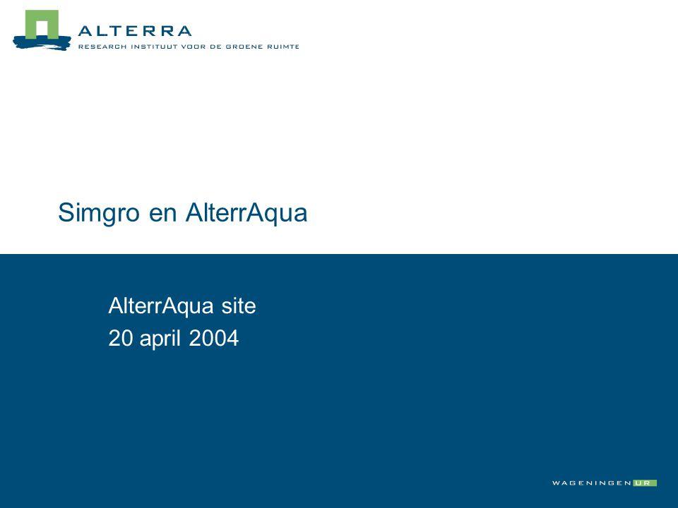 AlterrAqua schematisch Basisgegeven s AlterrAqua Simgro Water- beheer Bodem Geohydr o-logie model Schemati -sering Kwantit.