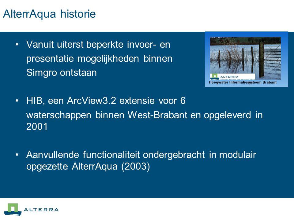 AlterrAqua historie Vanuit uiterst beperkte invoer- en presentatie mogelijkheden binnen Simgro ontstaan HIB, een ArcView3.2 extensie voor 6 waterschap