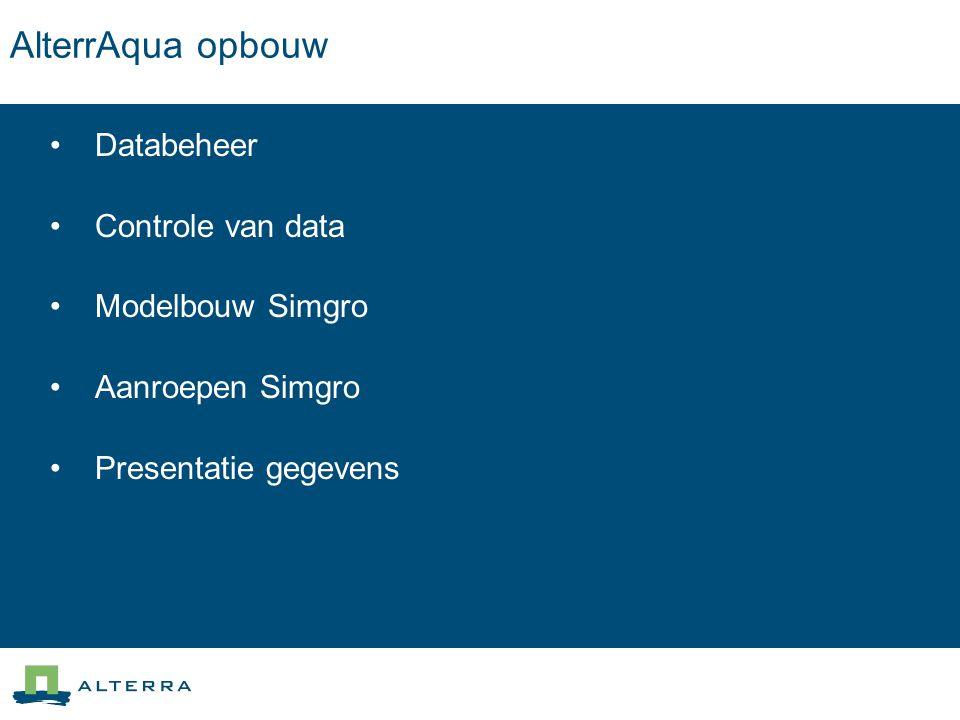 AlterrAqua opbouw Databeheer Controle van data Modelbouw Simgro Aanroepen Simgro Presentatie gegevens