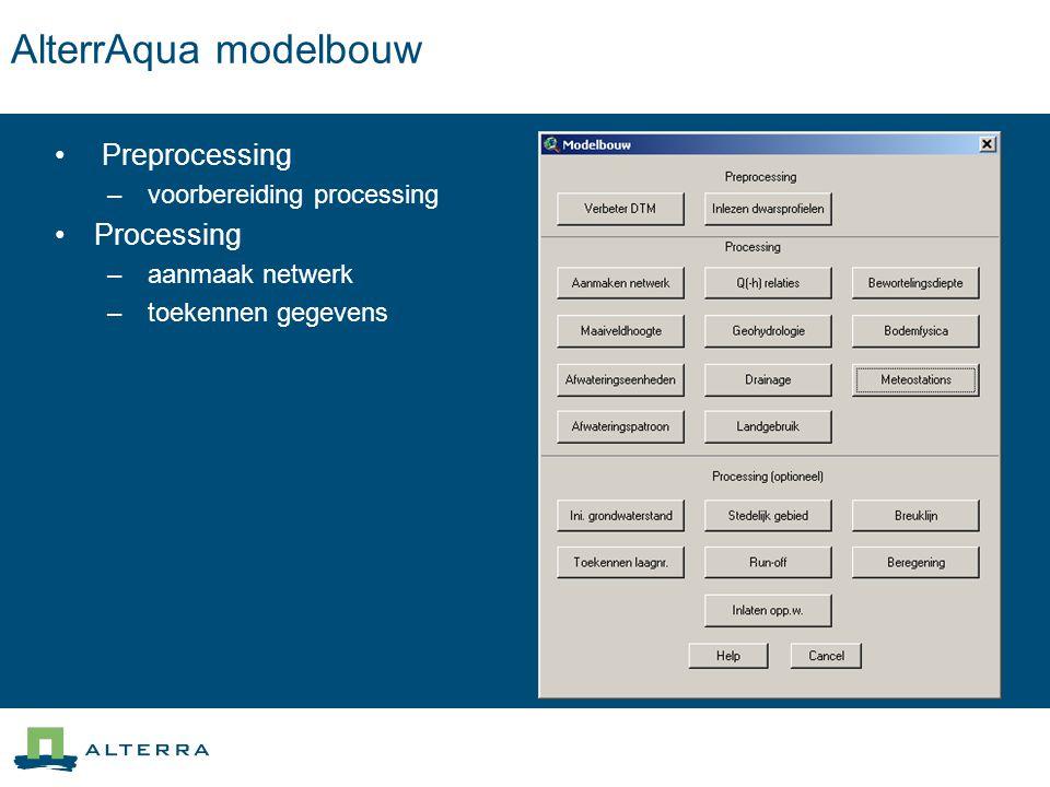 AlterrAqua modelbouw Preprocessing – voorbereiding processing Processing – aanmaak netwerk – toekennen gegevens