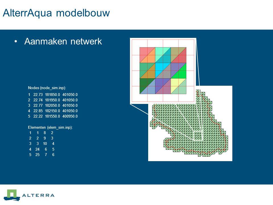 AlterrAqua modelbouw Aanmaken netwerk Nodes (node_sim.inp): 1 22.73 181850.0 401050.0 2 22.74 181950.0 401050.0 3 22.77 182050.0 401050.0 4 22.85 1821