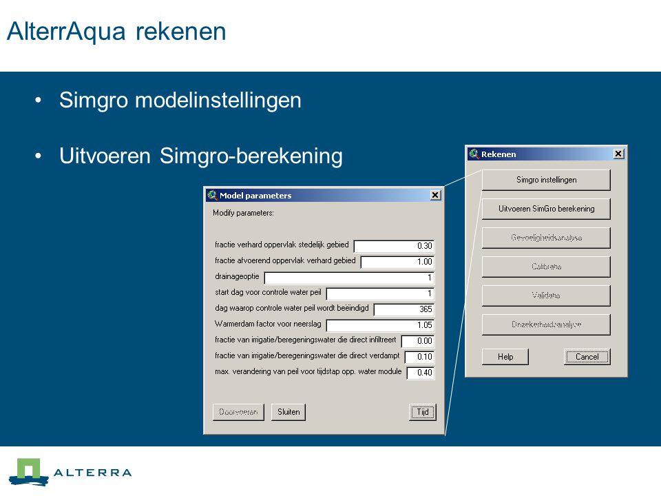 AlterrAqua rekenen Simgro modelinstellingen Uitvoeren Simgro-berekening