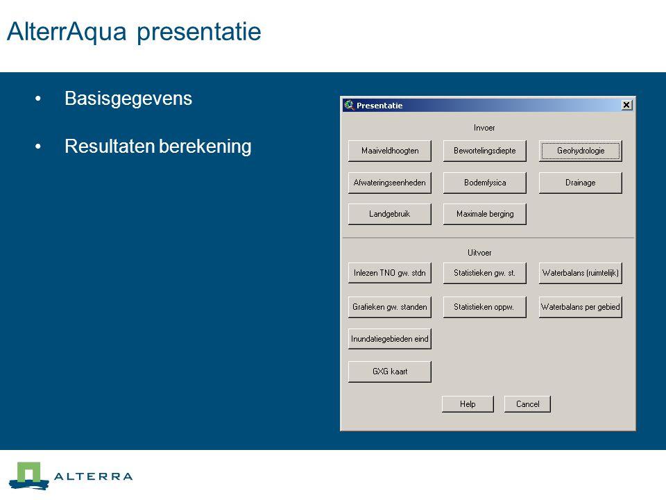 AlterrAqua presentatie Basisgegevens Resultaten berekening