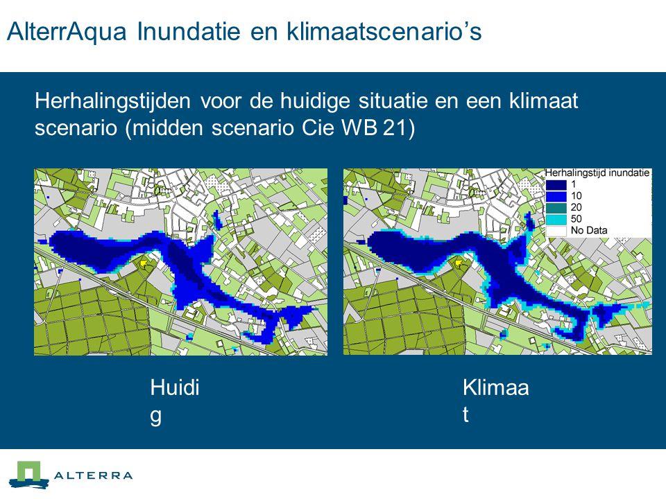 AlterrAqua Inundatie en klimaatscenario's Herhalingstijden voor de huidige situatie en een klimaat scenario (midden scenario Cie WB 21) Huidi g Klimaa