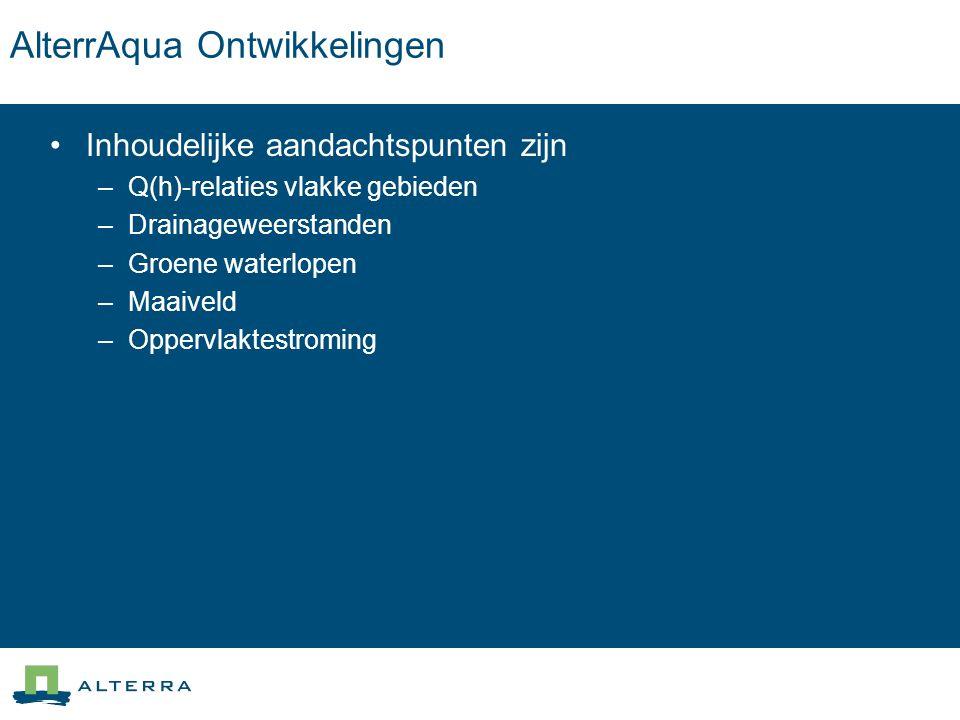 AlterrAqua Ontwikkelingen Inhoudelijke aandachtspunten zijn –Q(h)-relaties vlakke gebieden –Drainageweerstanden –Groene waterlopen –Maaiveld –Oppervla