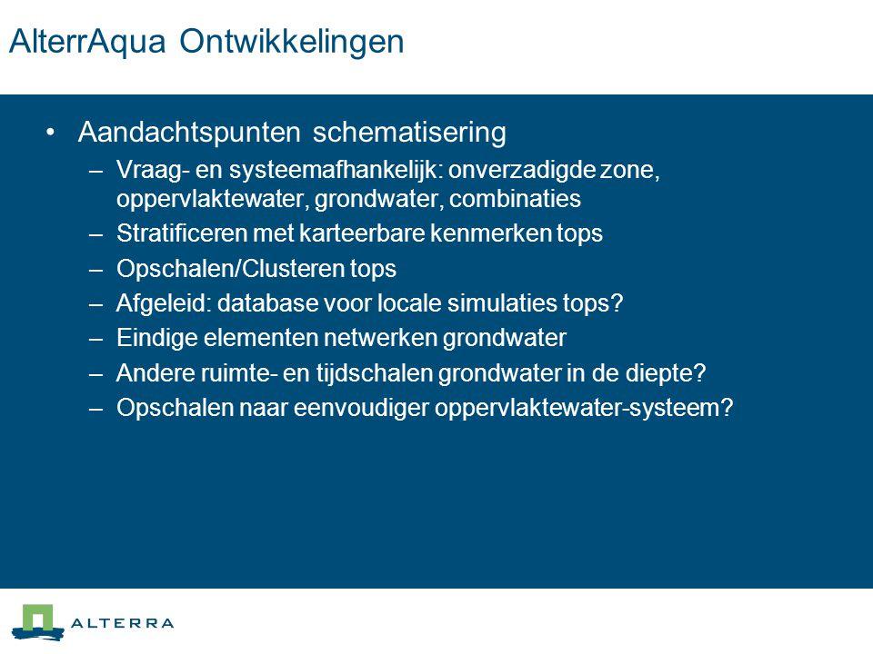 AlterrAqua Ontwikkelingen Aandachtspunten schematisering –Vraag- en systeemafhankelijk: onverzadigde zone, oppervlaktewater, grondwater, combinaties –