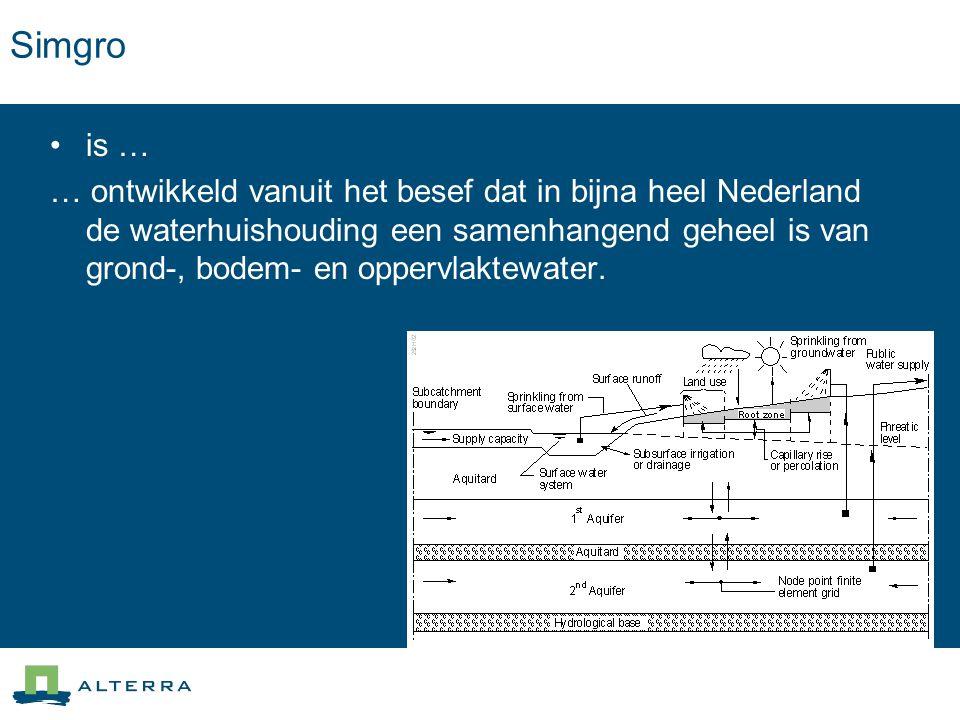 AlterrAqua controle Controle van data –Controle op uniciteit van de gegevens –Controle op ligging van waterlopen ten opzichte van een uitstroompunt –Controle ligging kunstwerken ten opzichte van waterlopen –Controle drainage –Controle inlaten