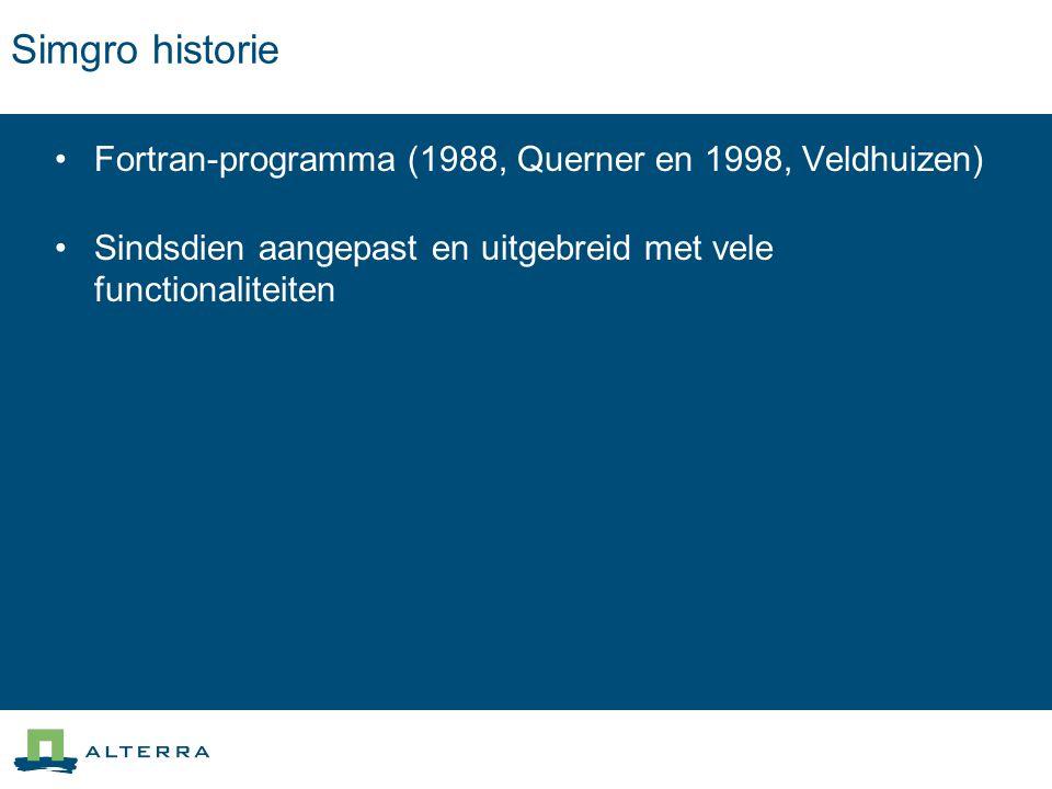Simgro historie Fortran-programma (1988, Querner en 1998, Veldhuizen) Sindsdien aangepast en uitgebreid met vele functionaliteiten