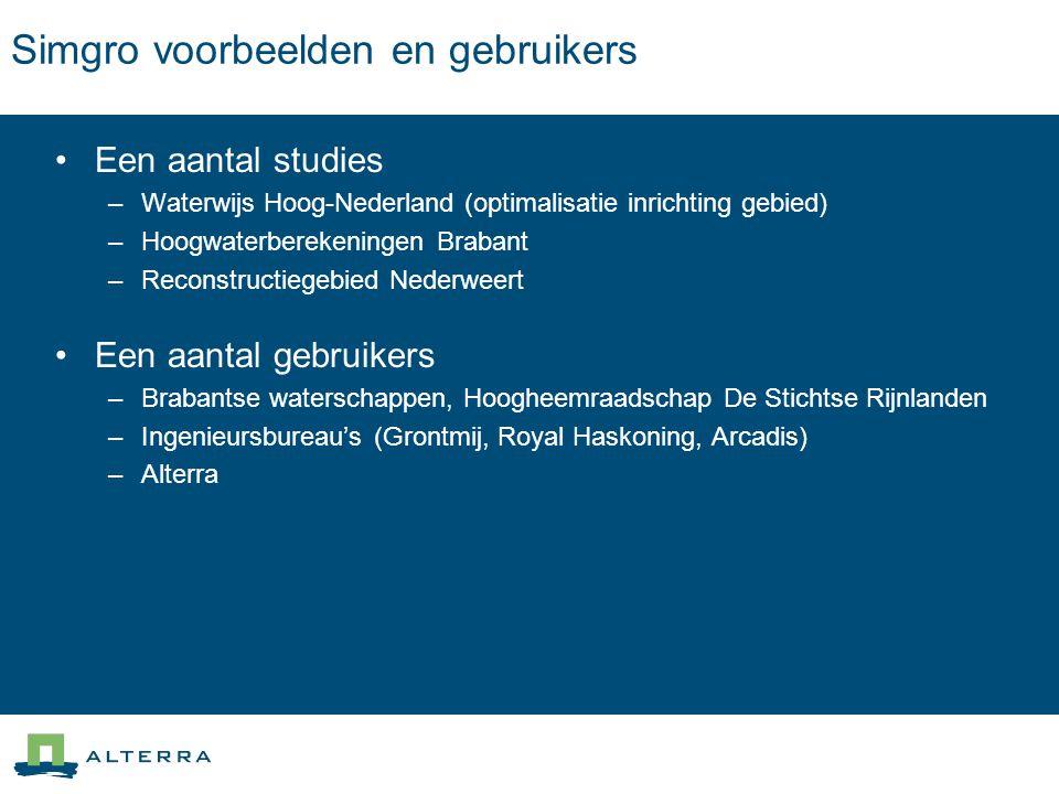 Simgro voorbeelden en gebruikers Een aantal studies –Waterwijs Hoog-Nederland (optimalisatie inrichting gebied) –Hoogwaterberekeningen Brabant –Recons